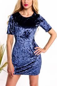 navy velvet scoop neckline short sleeve pencil style casual dress