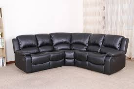 Black Corner Sofas Valencia 2c2 Leather Recliner Corner Sofa Suite Black
