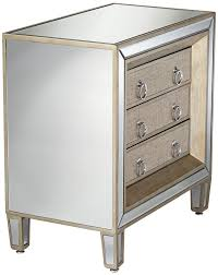 3 drawer accent table amazon com mira mirrored 3 drawer accent table kitchen dining