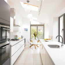 picture of modern white small kitchen with victorian terrace