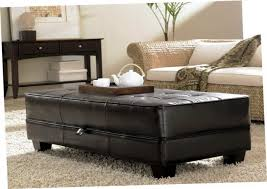 beautiful black leather storage ottoman 2 tray top brown leather