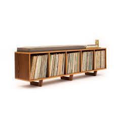 Modern Storage Bench Vinyl Lp Storage Bench Lo Fi Edition With Mid Century Modern