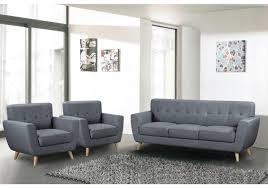canapé 3 2 tissu 3 pièces tissu gris 1 canapé 3 places 2 fauteuils 1 place