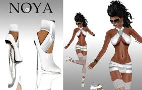 second life marketplace noya mineral white dress with high heels