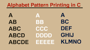 java pattern programs for class 10 alphabet pattern printing in c hindi youtube