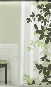 High End Fabric Shower Curtains Zen Floral Sage Green Brown Tan Ivory Quality Luxury Fabric Shower
