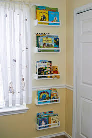 bedroom simple shelving unit design for kids room using white wall