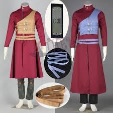 anime naruto gaara cosplay costumes long red coat casual