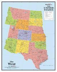 Western Usa Map by Western States Wall Map Maps Com