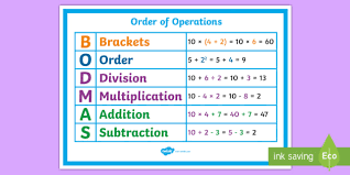 order of operations bodmas poster order operations bodmas