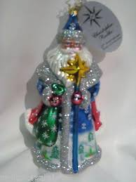 radko blue santa 25th anniversary ornament