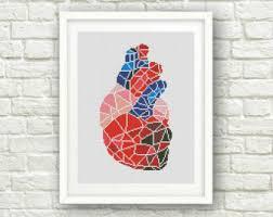 Anatomy Of Human Heart Pdf Anatomy Cross Stitch Etsy