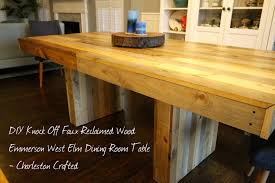 diy knock off faux reclaimed wood emmerson west elm dining room