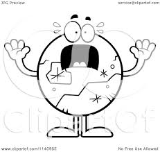 cartoon clipart of a black and white scared pluto vector