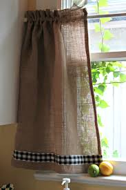 Gingham Kitchen by Opulent Cottage Burlap And Gingham Kitchen Curtain