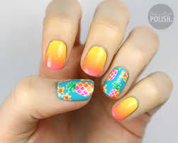 nails of the day pineapple sunrise ombre nail art ombre and