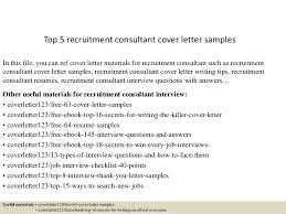ideas of sample cover letter for recruitment consultant job for