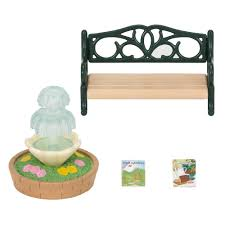 sylvanian families garden set sylvanian families bench u0026 fountain 8 00 hamleys for