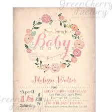 baby shower invitation vintage background wreath