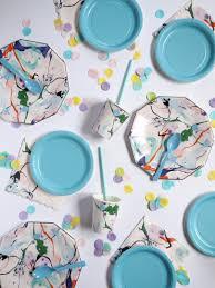 vaisselle jetable fete petite assiette jetable bleu clair en carton achat vente