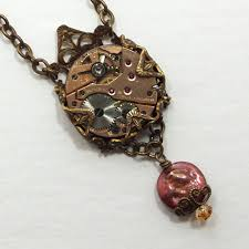 ladies necklace watch images Steampunk necklace in brass clockwork pendant vintage jpg
