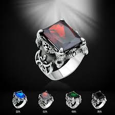 aliexpress buy mens rings black precious stones real men vintage rings titanium steel blue black gem