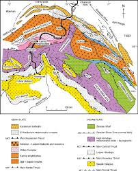 Himalayan Mountains Map Geological Map Of The Kohistan U2013ladakh Western Himalaya Region