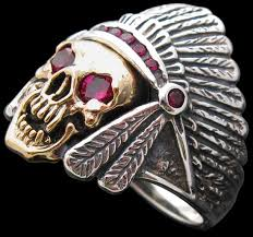 ruby sterling rings images Large indian head dress with skull ring and rubies sterling jpg