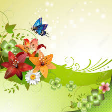 springtime background with flowers and butterflies royalty free