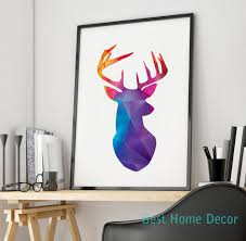Home Decor Red Deer Aliexpress Com Buy Deer Head Print Blue Red Purple Geometric