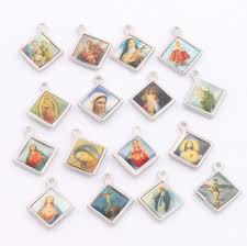 religious charms enamel square jesus christianism icon cross religious charms