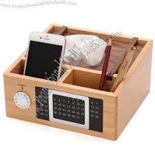 Desk Organizer Box Pen Holder Calendar Cellphone Holder Tissue Boxes Wood Desk