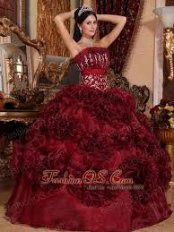 burgundy quince dresses burgundy quinceanera dress strapless organza appliques gown