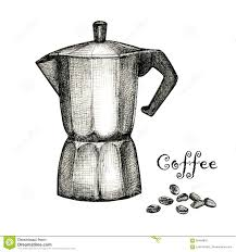 the black ink drawing of coffee maker stock illustration image