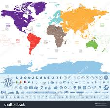 India Time Zone Map by Political Map World Colored By Continents Stock Vector 316652069