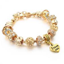 gold bracelet with heart charms images Hot selling 2016 heart charm bracelets bangles gold bracelets jpeg