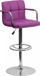 Bar Stool With Back And Arms Quilted Mid Back Swivel Bar Stool With Adjustable Height U0026 Arms