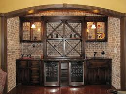 built in wine bar cabinets wet bar with wine fridge backed with faux brick home pinterest