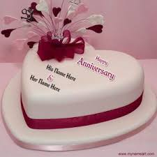 wedding wishes editing create happy marriage anniversary heart shape cake picture online