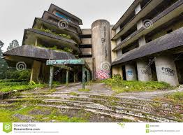 ruin abandoned hotel on the island of sao miguel editorial image