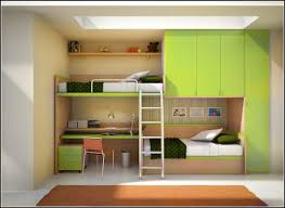 set the kids bedroom with the bunk bed with desk to save space