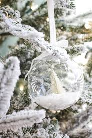 diy bottlebrush tree snow globe ornaments 2 bees in a pod
