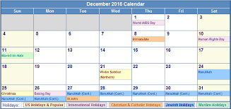 december calendar 2016 with holidays canada