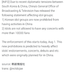 korean idols banned from activities in china u0026 face concert size