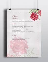 Wedding Menu Template Watercolour Flower Wedding Menu Template The Smell Of Roses Free