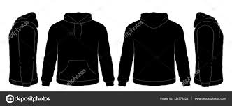 black hoodie sweatshirt vector set front side back views