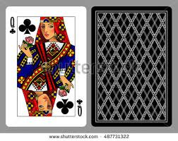 Playing Card Design Template Queen Hearts Playing Card Backside Background Stock Vector