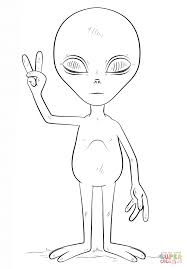 alien with peace sign coloring page free printable coloring pages