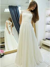 chiffon wedding dress a line bateau cap sleeves open back white chiffon wedding dress