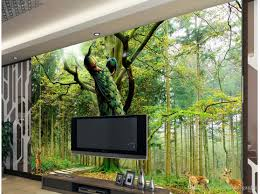 Wallpaper For Living Room Peacock Tree Deer Tv Background Wall Wallpaper For Walls 3 D For